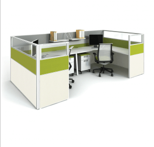 Fabric Partition with Glass on Top