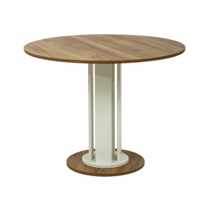 Round Table with Wooden Drum Base