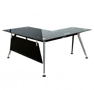 TF 198 L-Shape Desk in Glass On Top | Garnet Furniture